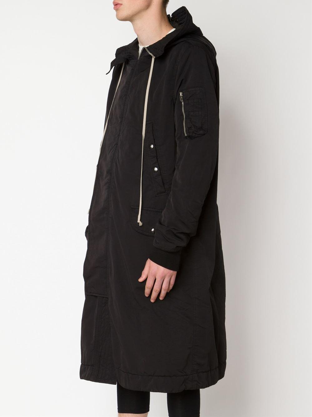 Drkshdw by rick owens Hooded Parka in Black for Men | Lyst