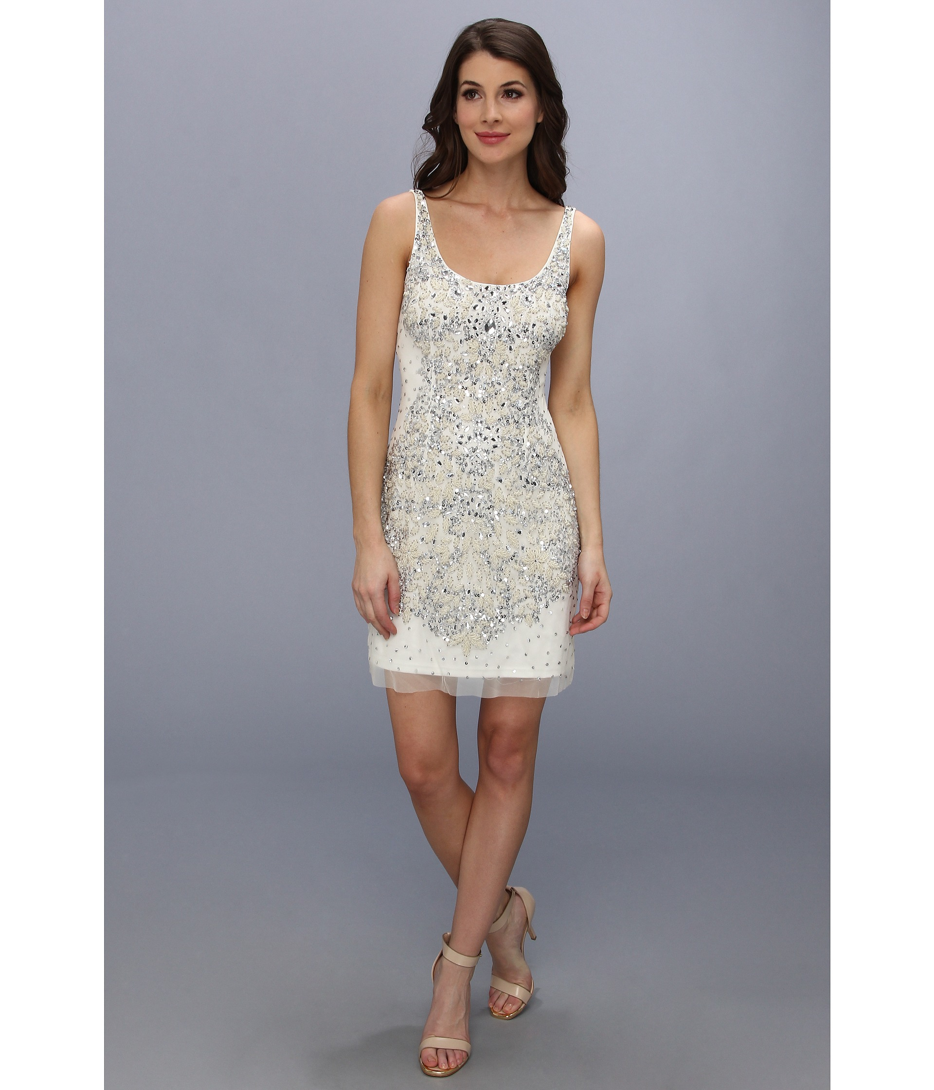 82eeed2272 Adrianna Papell Short Bead Tank Dress in White - Lyst