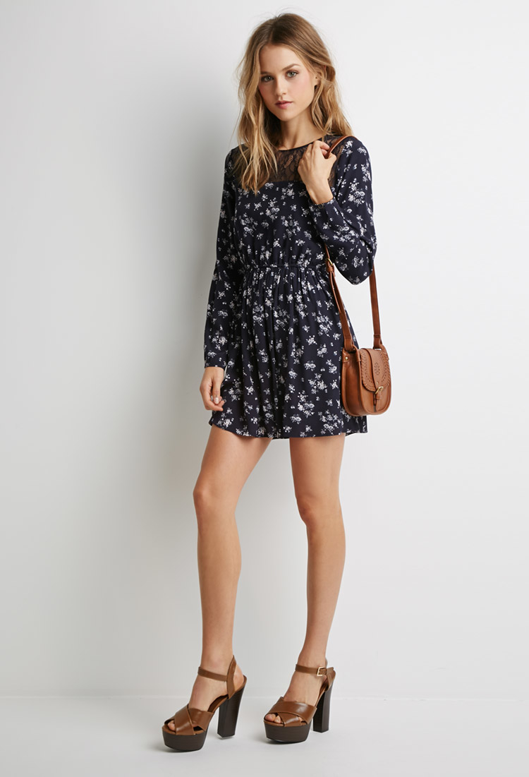 Forever 21 Floral Lace Paneled Dress In Blue Lyst