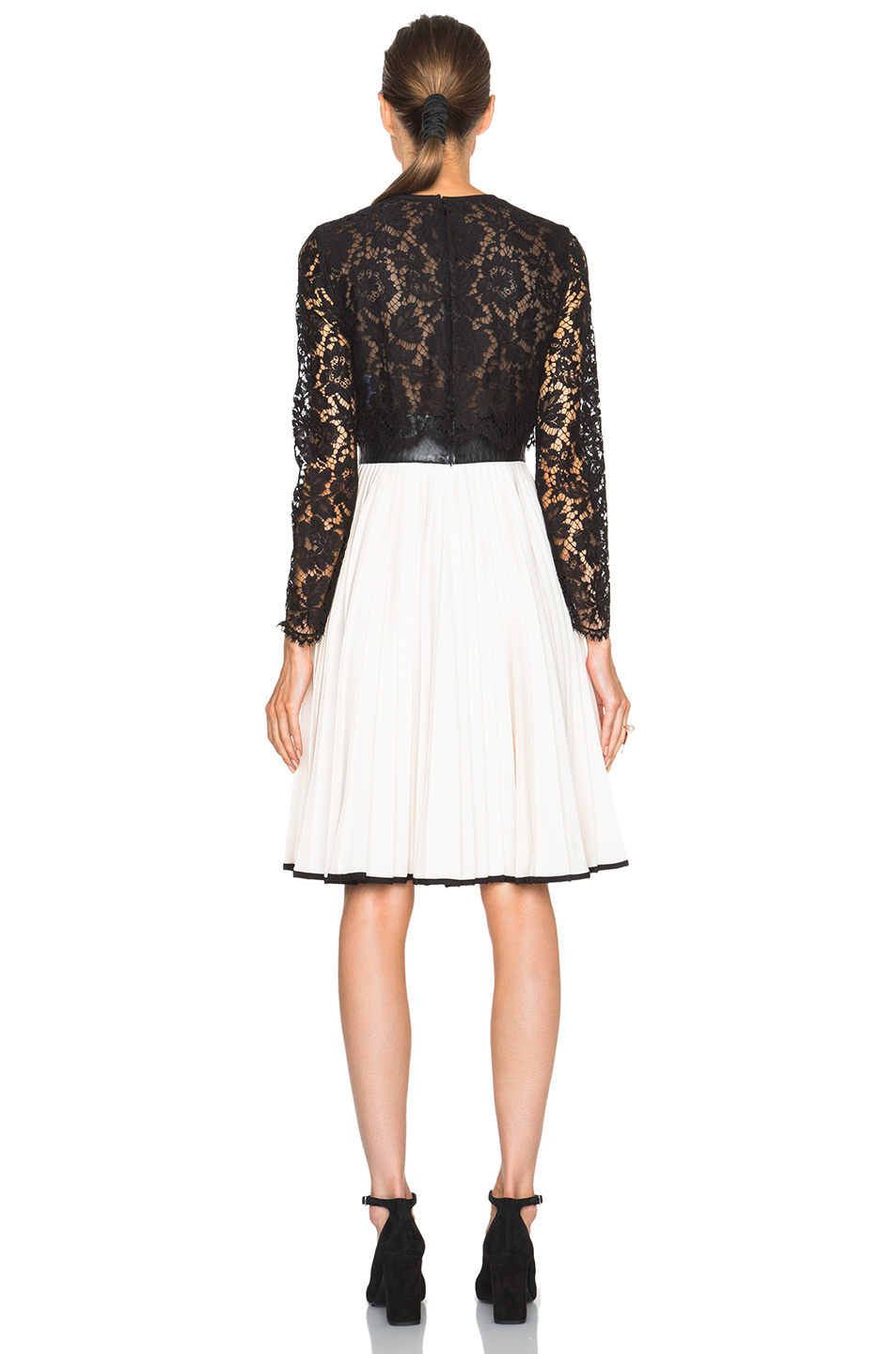 8784a6b2d2 Valentino Heavy Lace Long Sleeve Dress With Plisse Skirt .