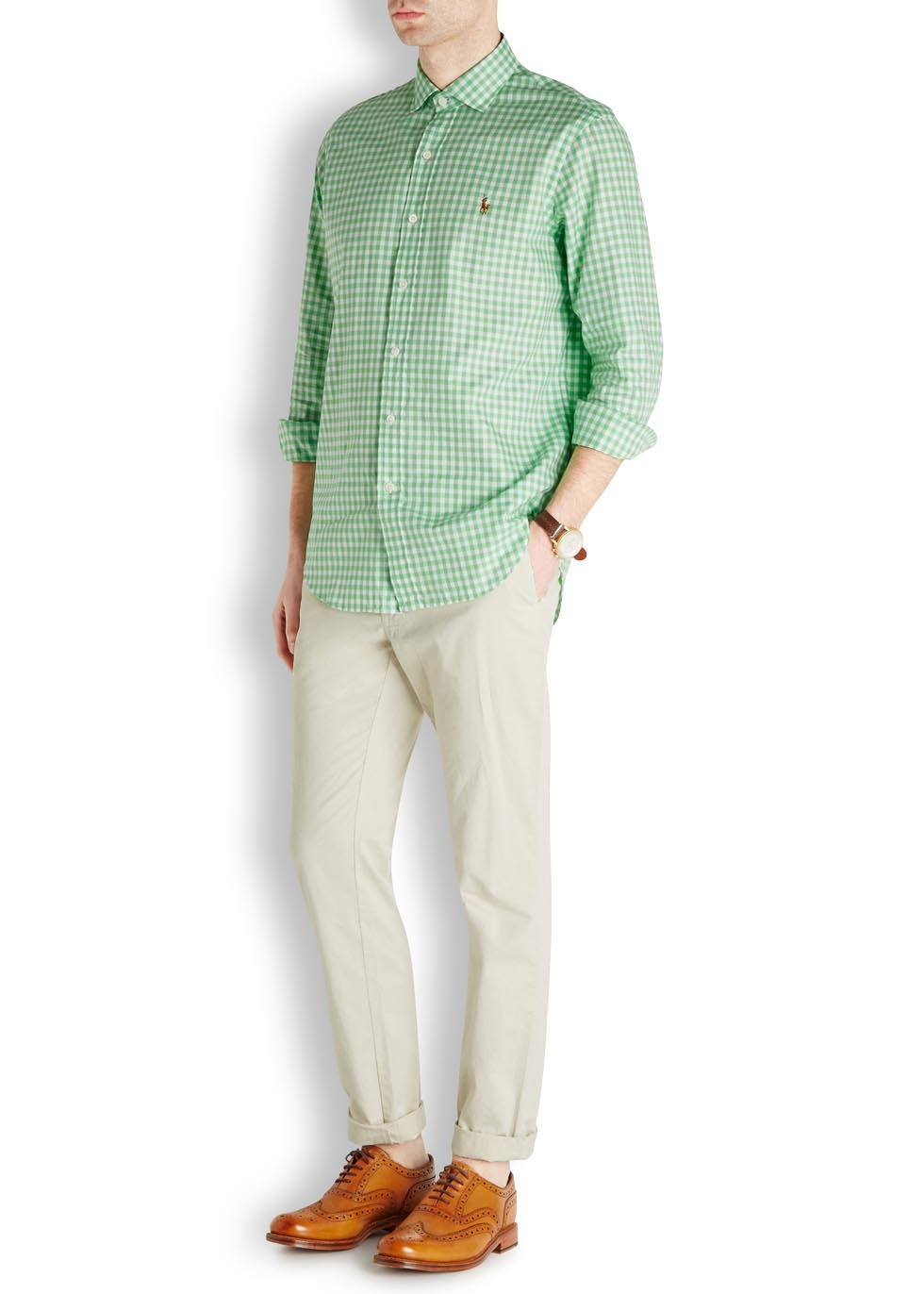 dc118337a Polo Ralph Lauren Bright Green Checked Cotton Shirt in Green for Men ...