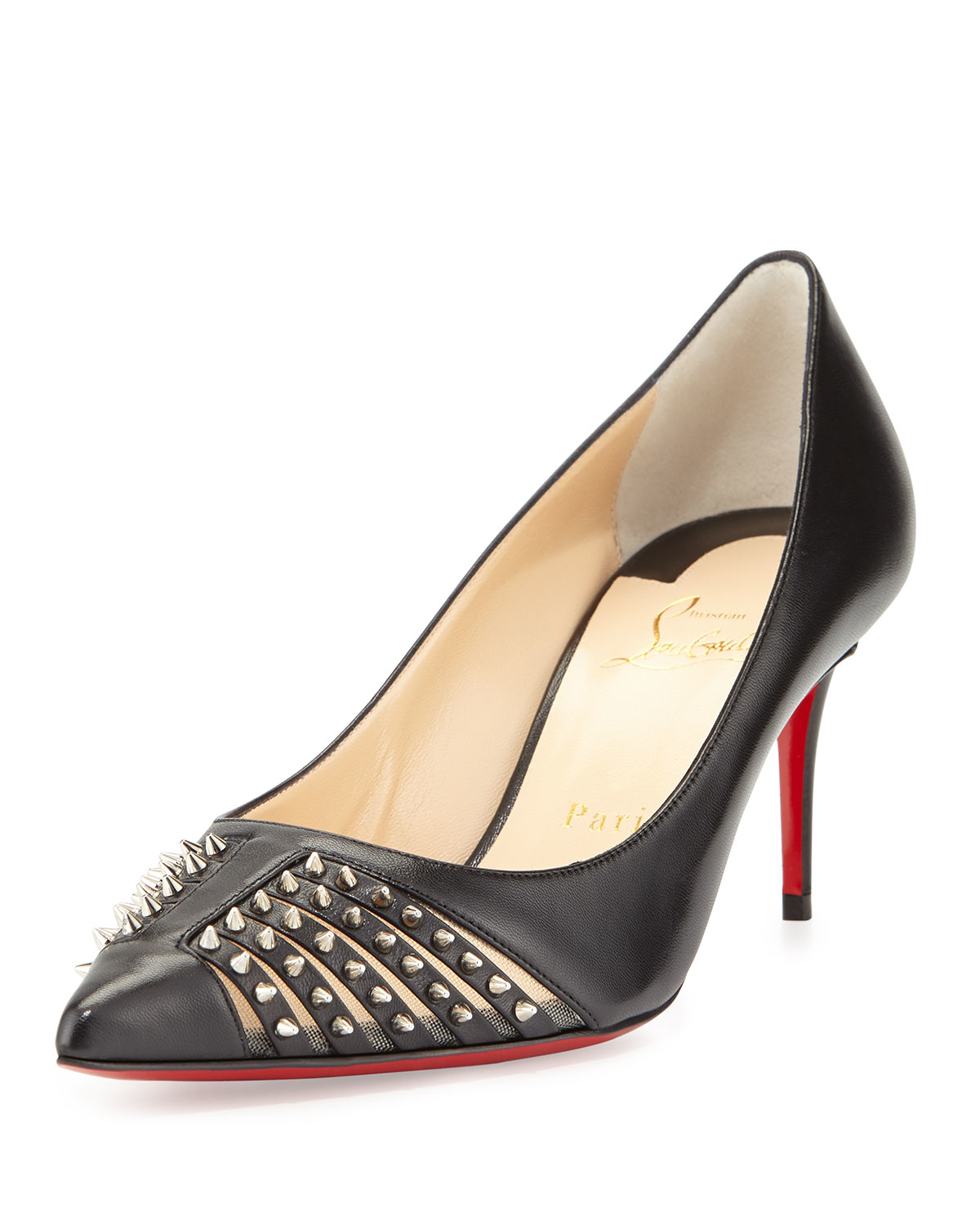 louboutin shoes for men - Christian louboutin Baretta Studded Low-heel Red Sole Pump in ...