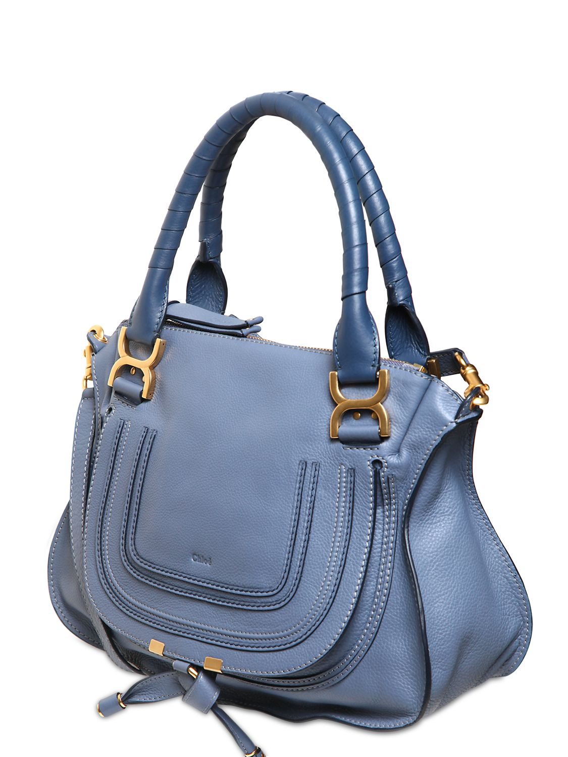 Chlo¨¦ Medium Marcie Textured Leather Bag in Blue (STREET BLUE) | Lyst