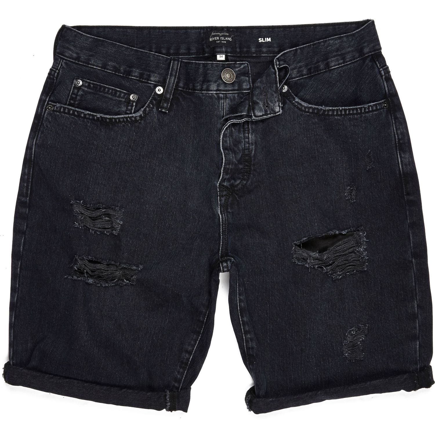 River island Black Ripped Slim Fit Denim Shorts in Black for Men ...