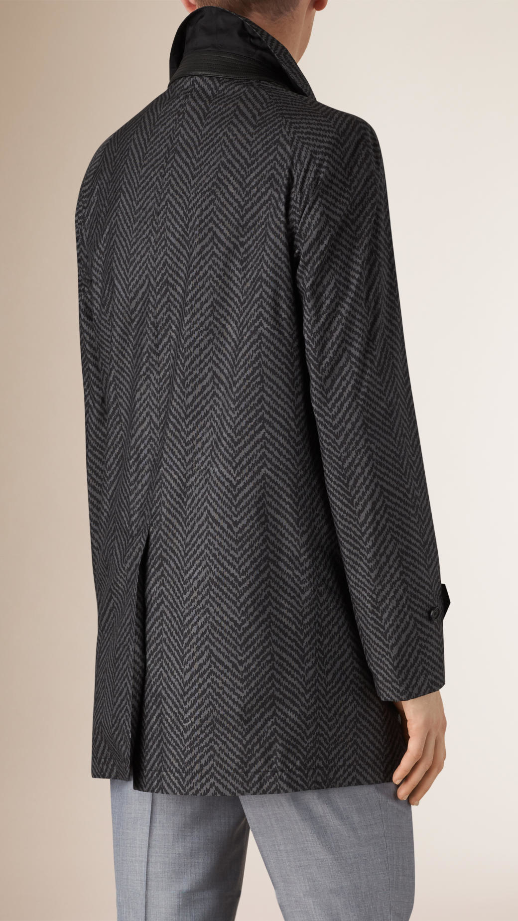 Burberry Herringbone-Print Silk Car Coat in Gray for Men | Lyst