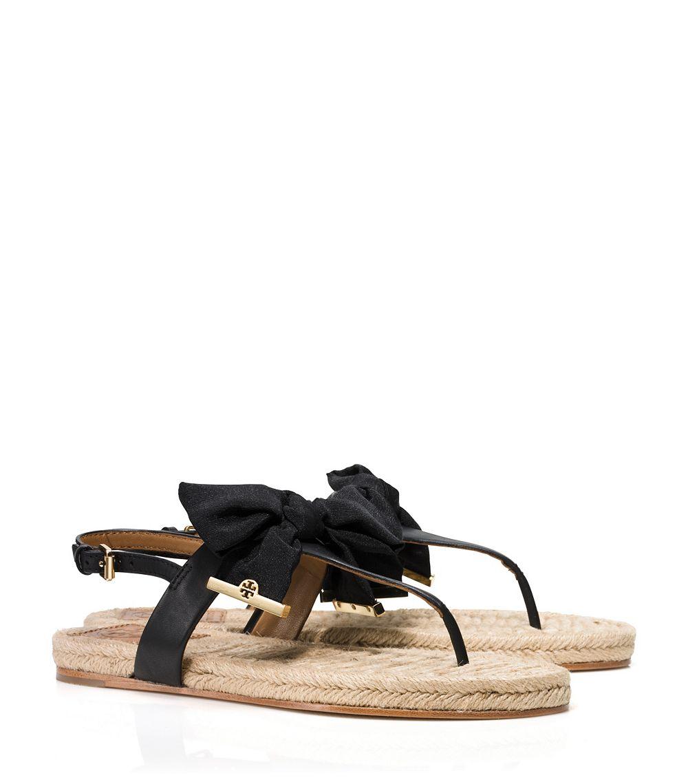 a37044bc85f27 Lyst - Tory Burch Penny Flat Thong Sandal in Black