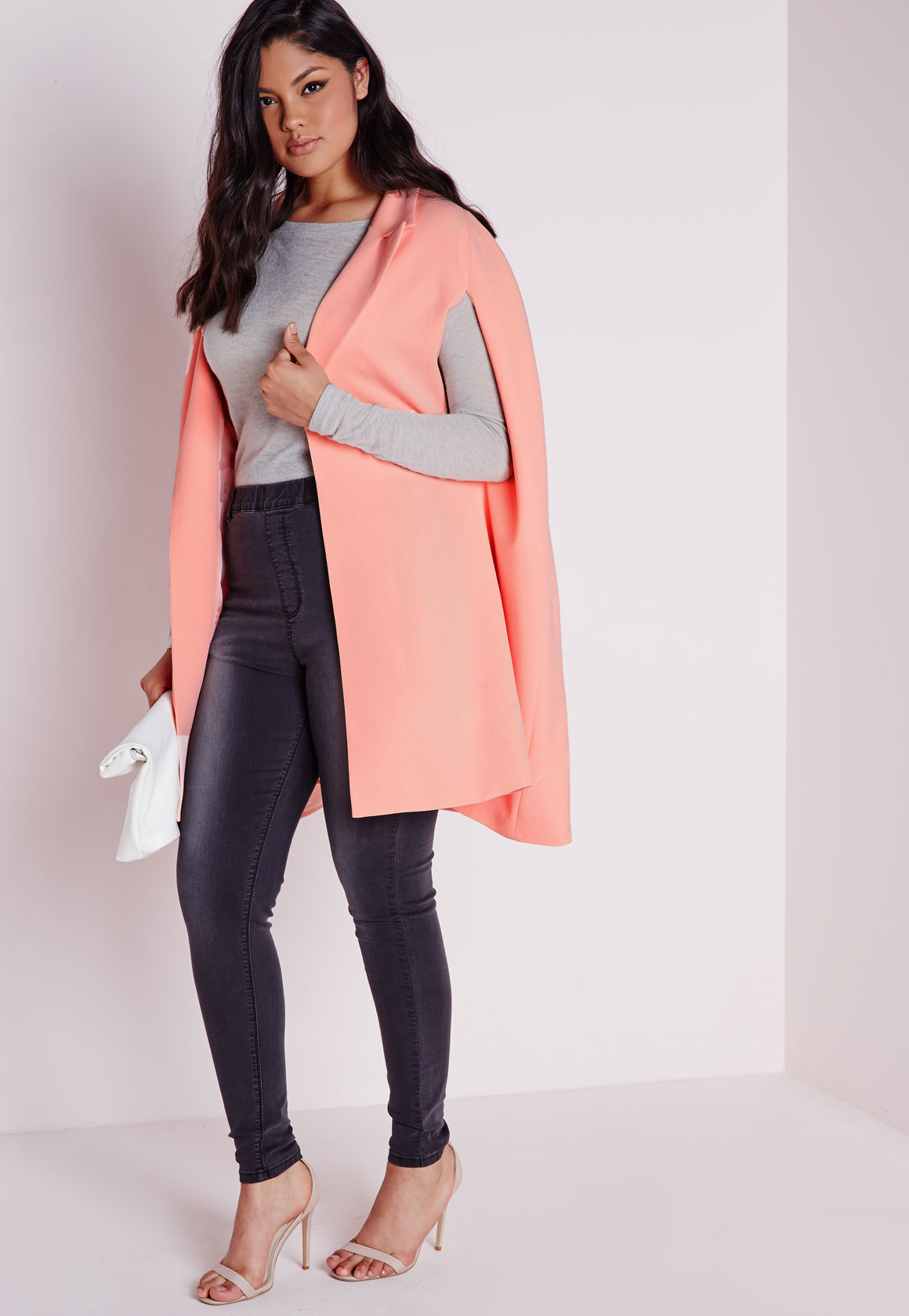 Missguided Plus Size Cape Blazer Crepe Blush in Pink | Lyst