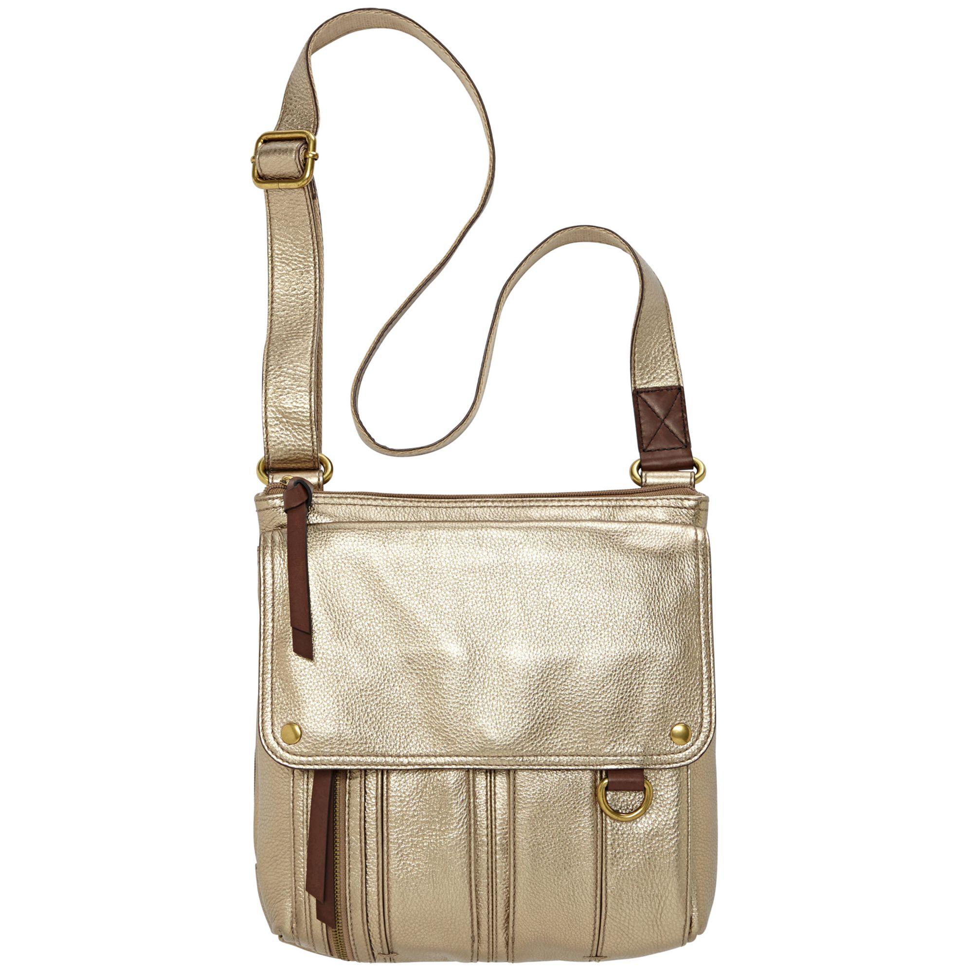 defe50017cd Fossil Morgan Leather Traveler Crossbody Bag in Metallic - Lyst