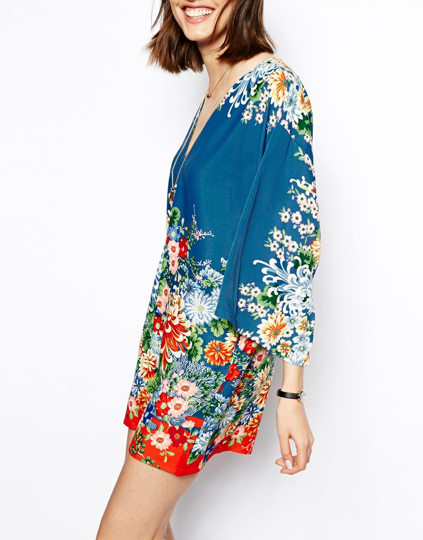 Lyst - Asos Kimono Shift Dress In Pretty Floral Print in Blue