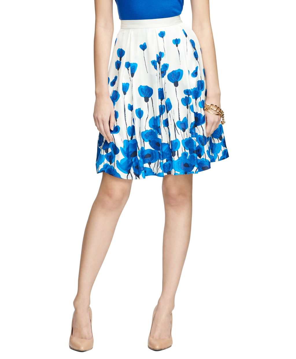 Brooks brothers Silk Printed A-line Skirt in Blue | Lyst
