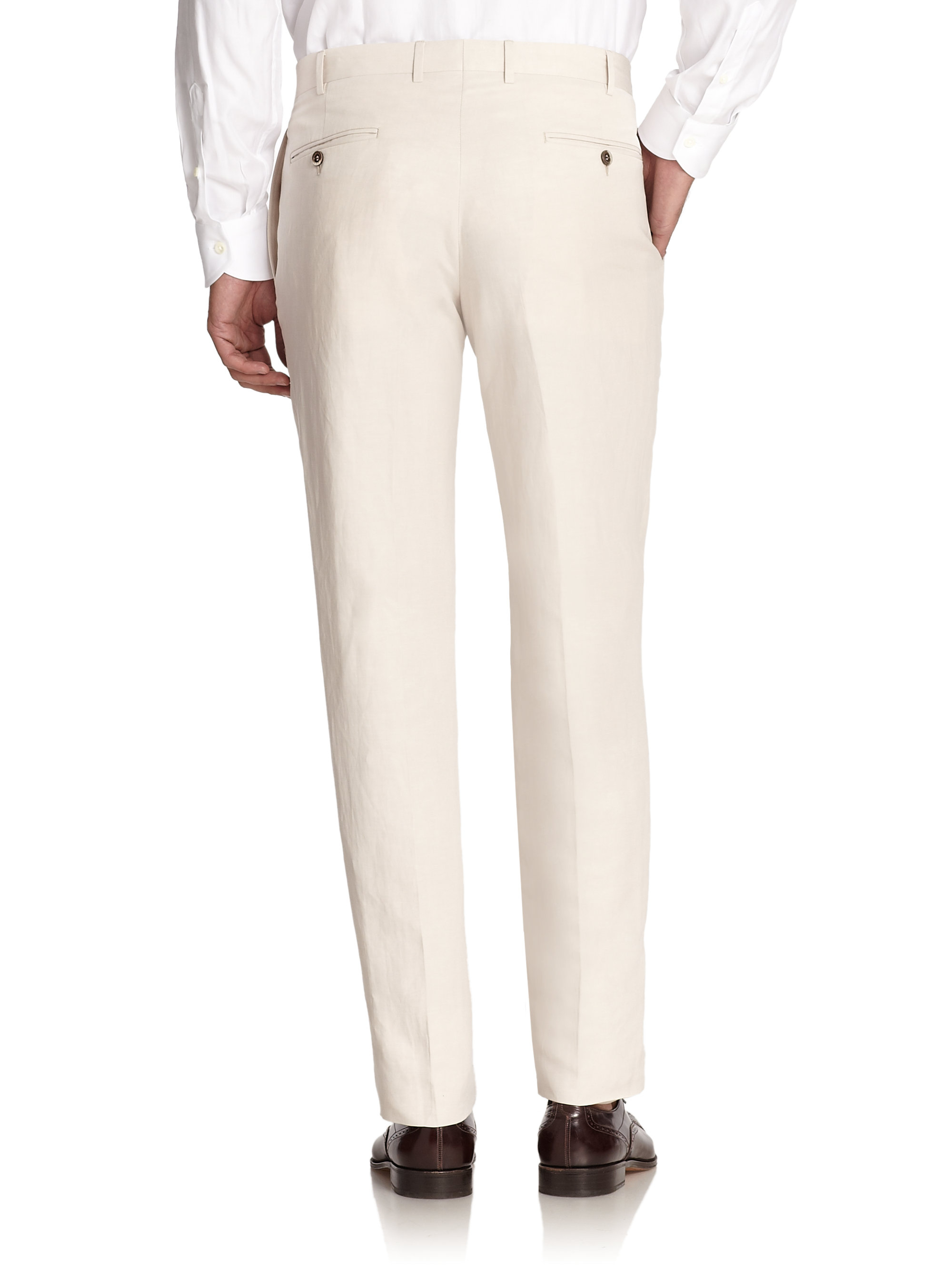 Canali Linen Amp Silk Trousers In White For Men Lyst