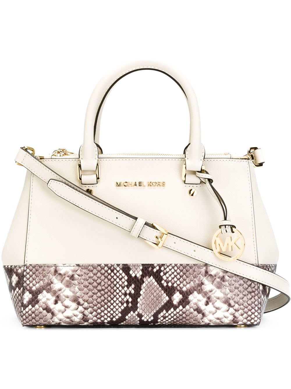 7ddca2071f1d2 ... free shipping lyst michael michael kors dillon tote bag in natural  4b227 5c259