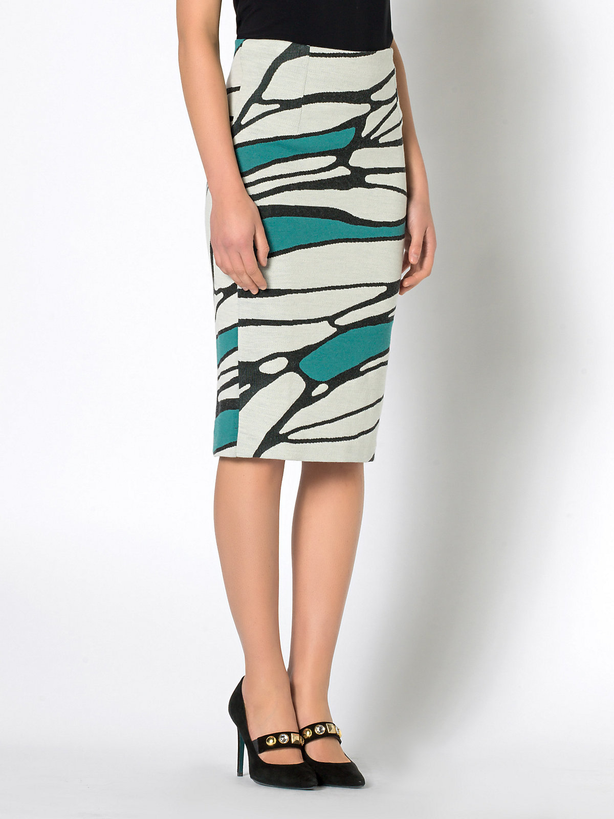patrizia pepe high waisted pencil skirt in fancy textured
