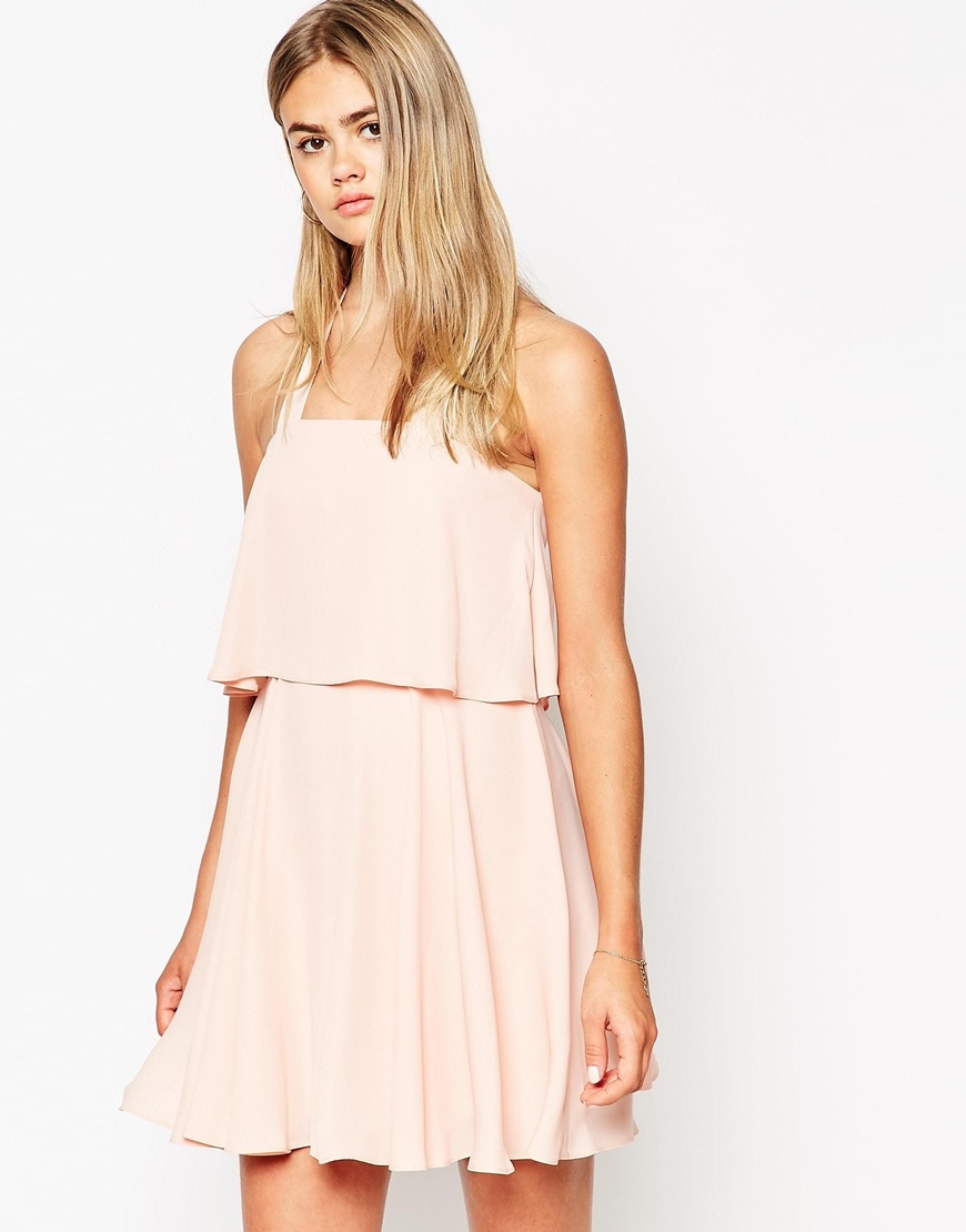 asos bandeau crop top skater dress with wide straps in pink lyst. Black Bedroom Furniture Sets. Home Design Ideas