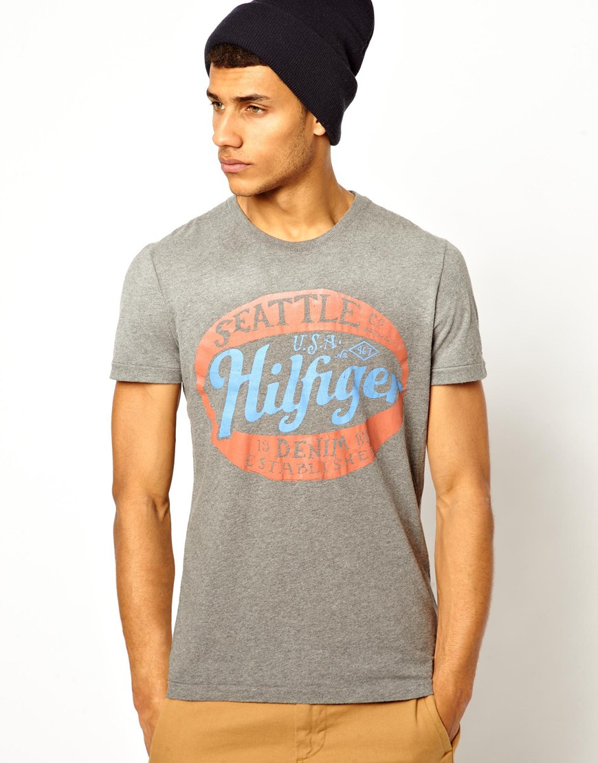 Hilfiger denim tshirt with seattle print in gray for men for Seattle t shirt printing