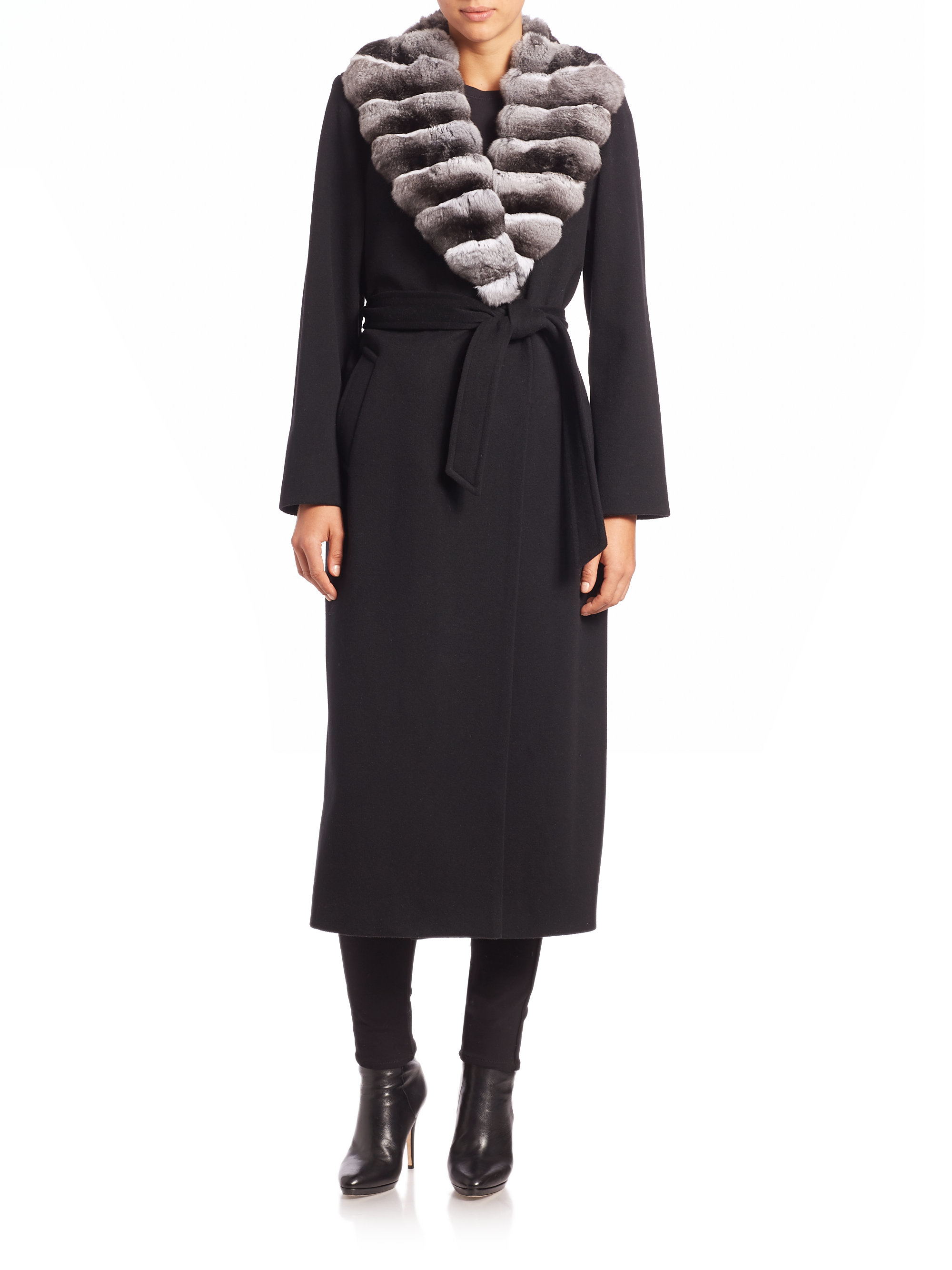 Sofia Cashmere Cashmere Fur Trimmed Long Wrap Coat In