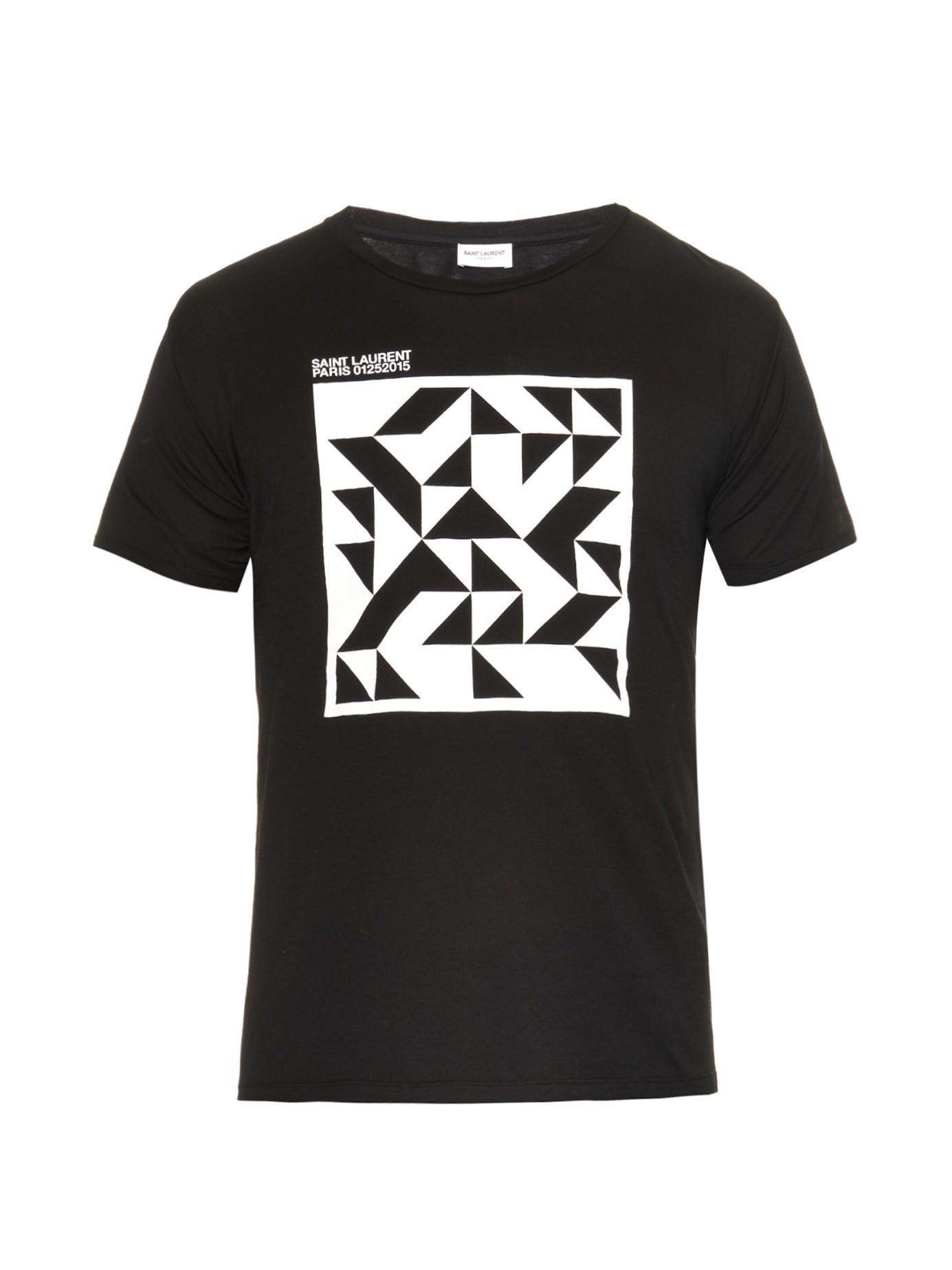 lyst saint laurent geometric print cotton jersey t shirt. Black Bedroom Furniture Sets. Home Design Ideas
