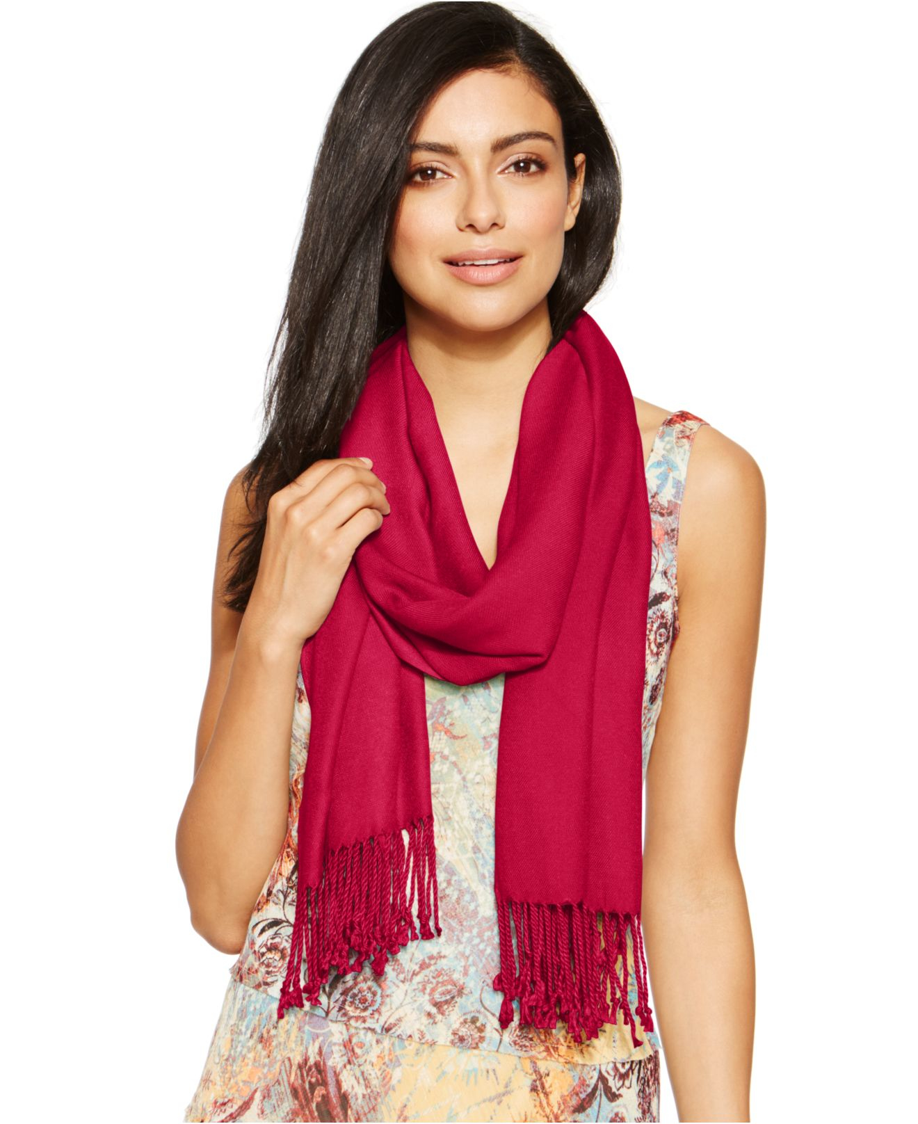 Inc International Concepts Satin Pashmina Wrap In Red Lyst