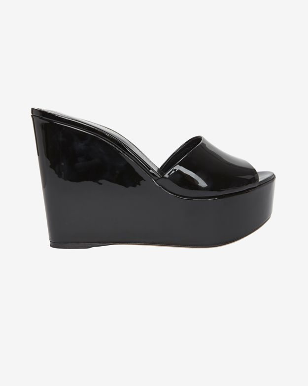 29cabdbef744 Lyst - Sergio Rossi Lakeesha Patent Leather Wedge Slide Sandal ...