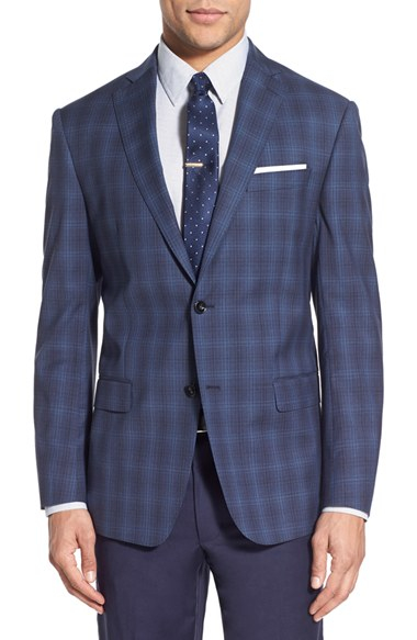 Michael Kors Trim Fit Plaid Wool Sport Coat In Blue For