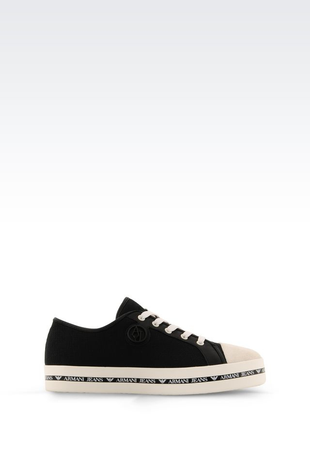 armani jeans canvas sneaker in black lyst. Black Bedroom Furniture Sets. Home Design Ideas