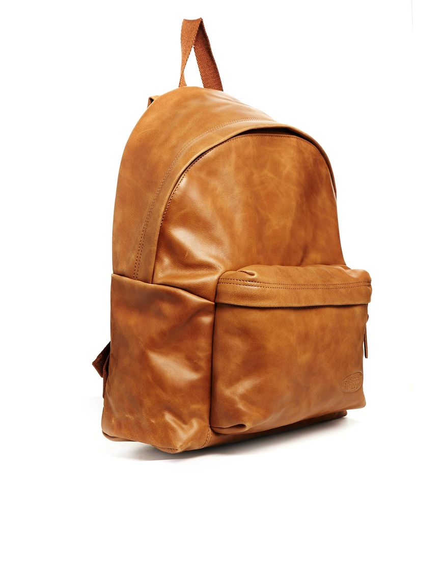 Eastpak Padded Pak'r In Tan Leather in Brown | Lyst