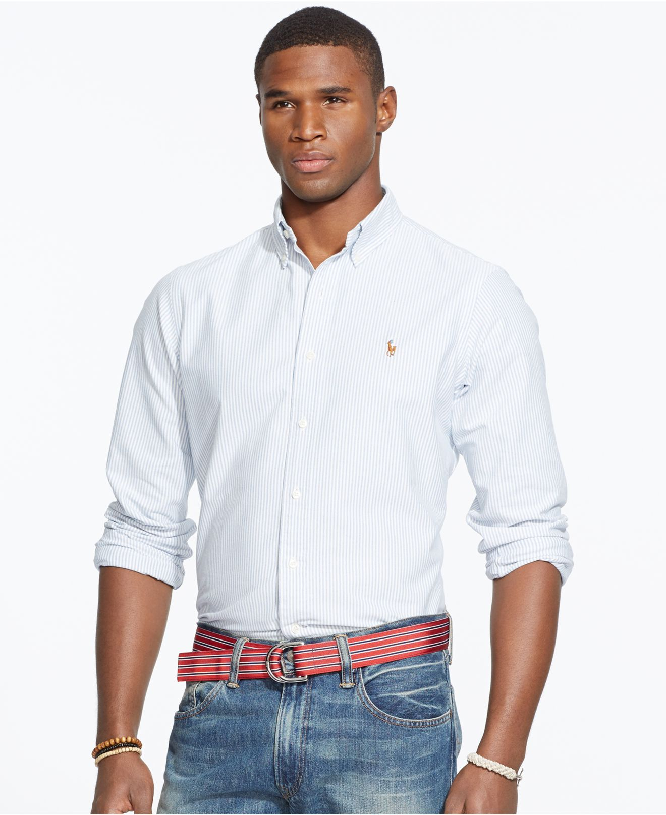 Mens Navy And White Striped Shirt