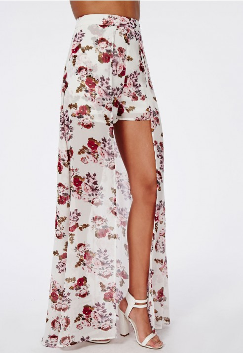 Missguided Floral Print Shorts With Maxi Skirt Detail | Lyst