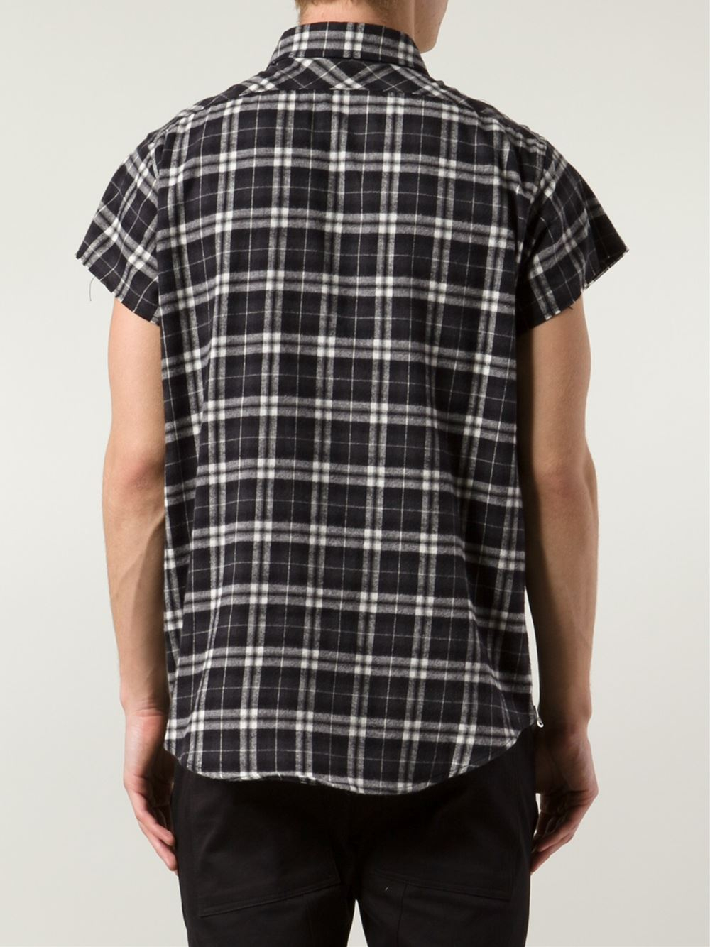 Lyst fear of god short sleeve plaid shirt in black for men Short sleeve plaid shirts
