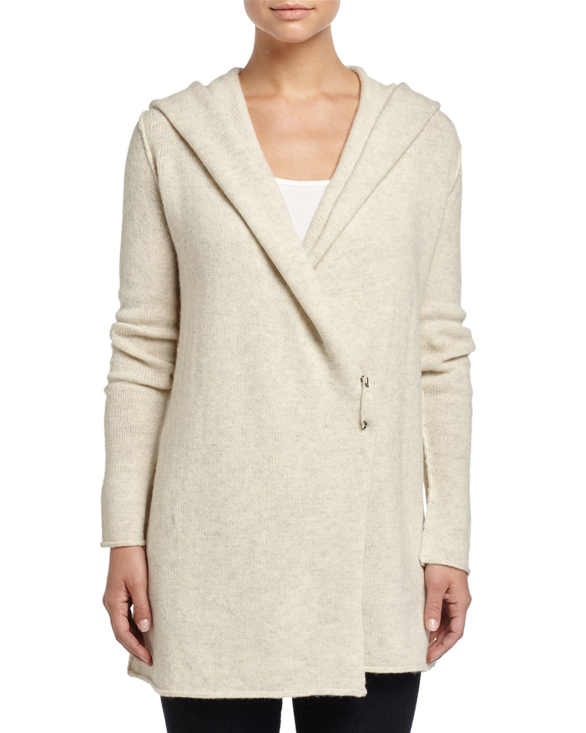 Vince Sophie Long Hooded Cardigan in Natural | Lyst