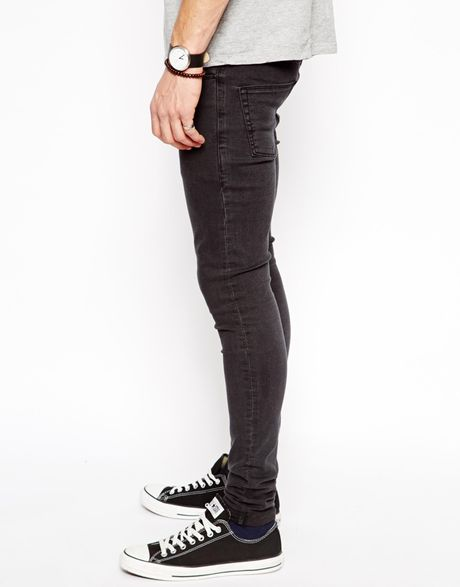 asos extreme super skinny jeans in faded black in black. Black Bedroom Furniture Sets. Home Design Ideas