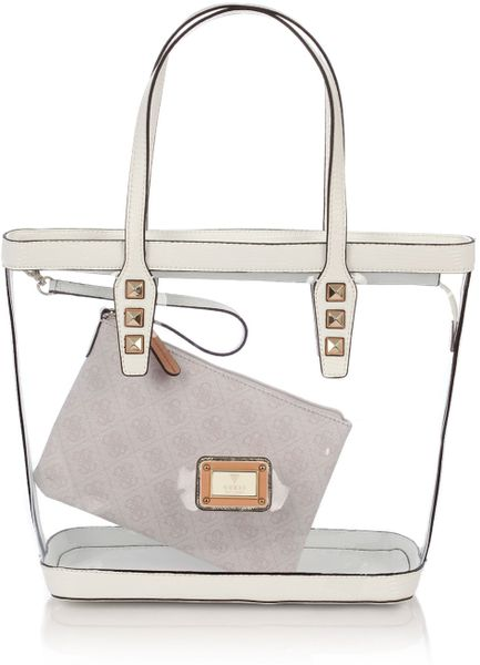 Guess Logo Remix Clear Plastic Tote Bag In Transparent Melange Grey