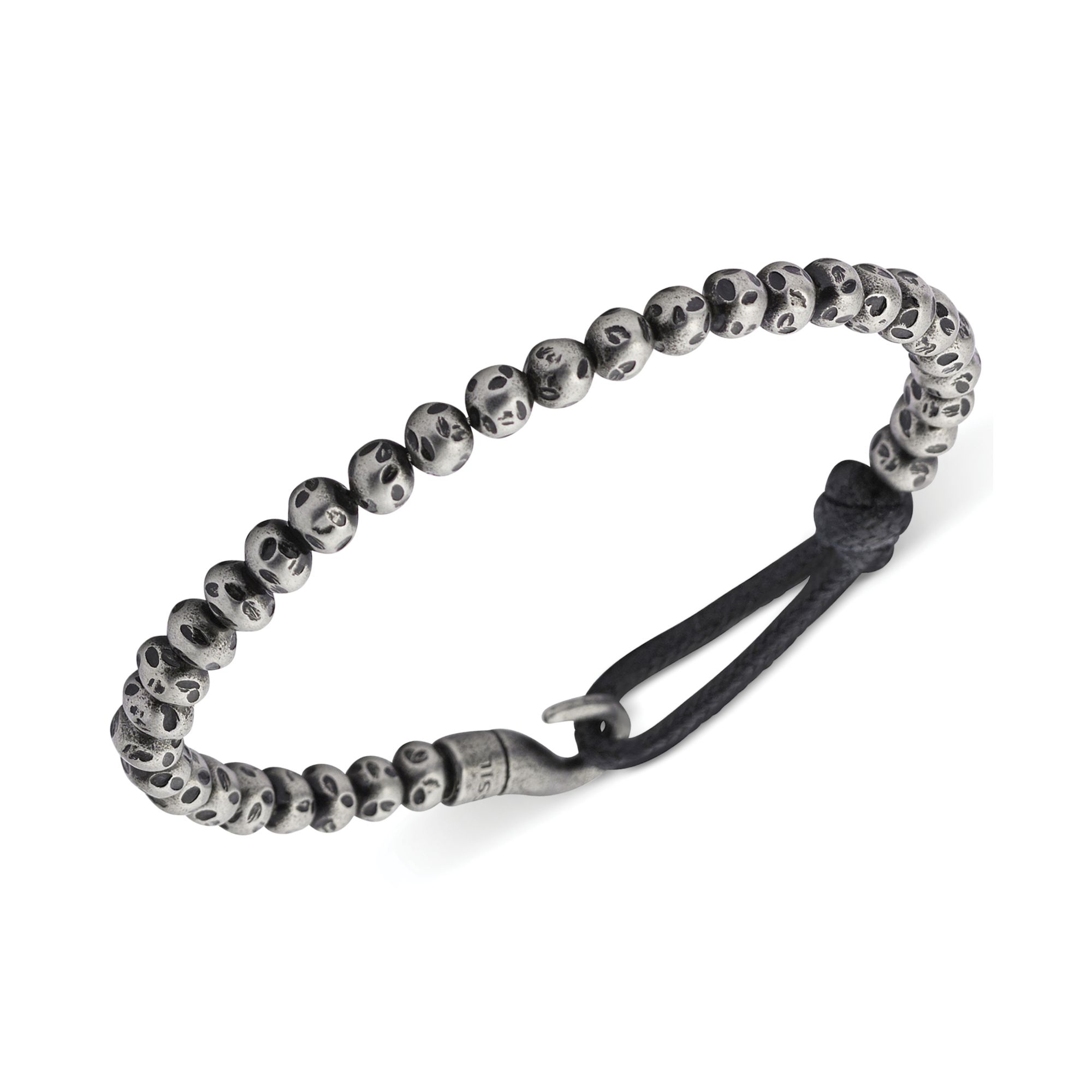Fossil Mens Stainless Steel Bead And Bungee Hook Bracelet