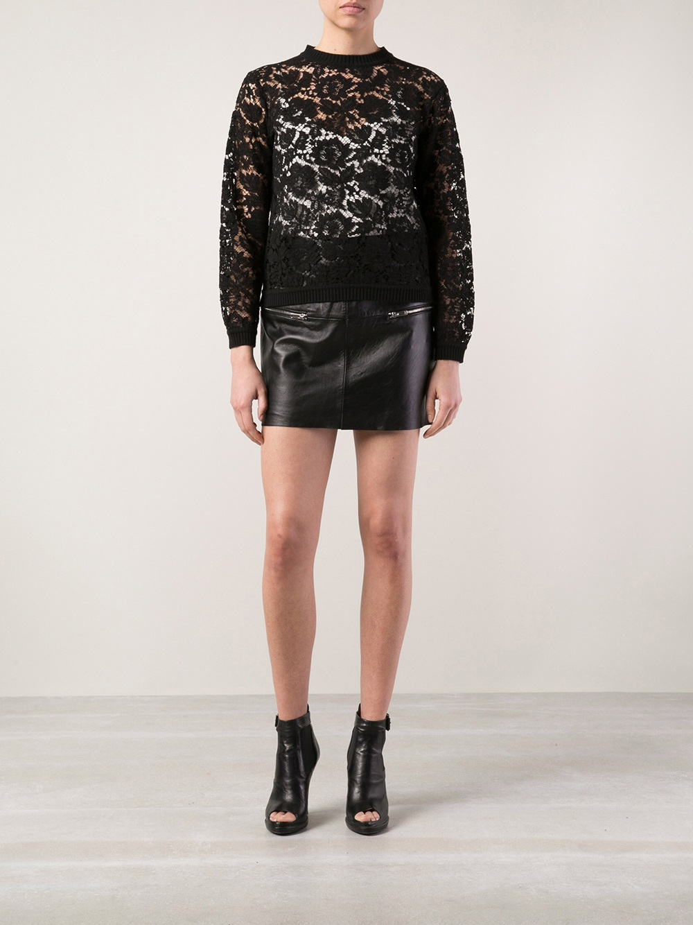 Valentino Studded Lace & Knit Sweater in Black - Save 34% | Lyst