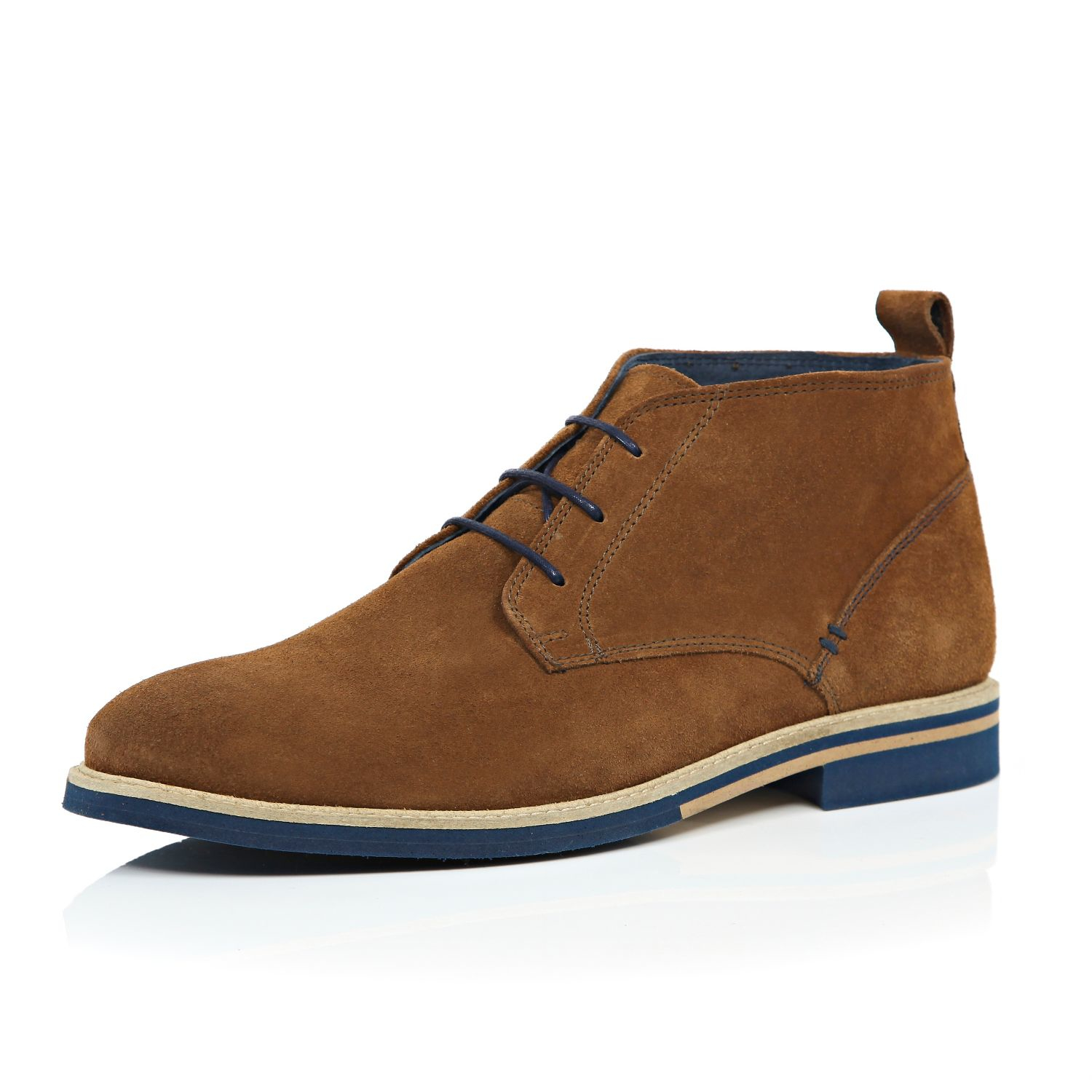 river island brown suede colour lace desert boots in