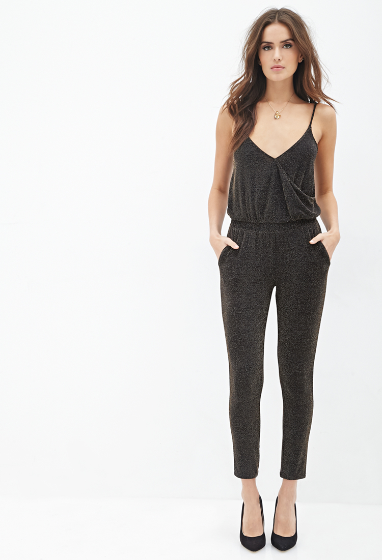 701367adb527 Forever 21 Contemporary Metallic Surplice Jumpsuit Youu0026 39 ve Been  Added To The Waitlist