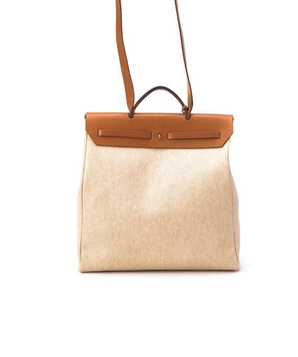 Herm¨¨s Pre-Owned: Beige Cotton \u0026#39;Herbag Mm\u0026#39; Bag With ...