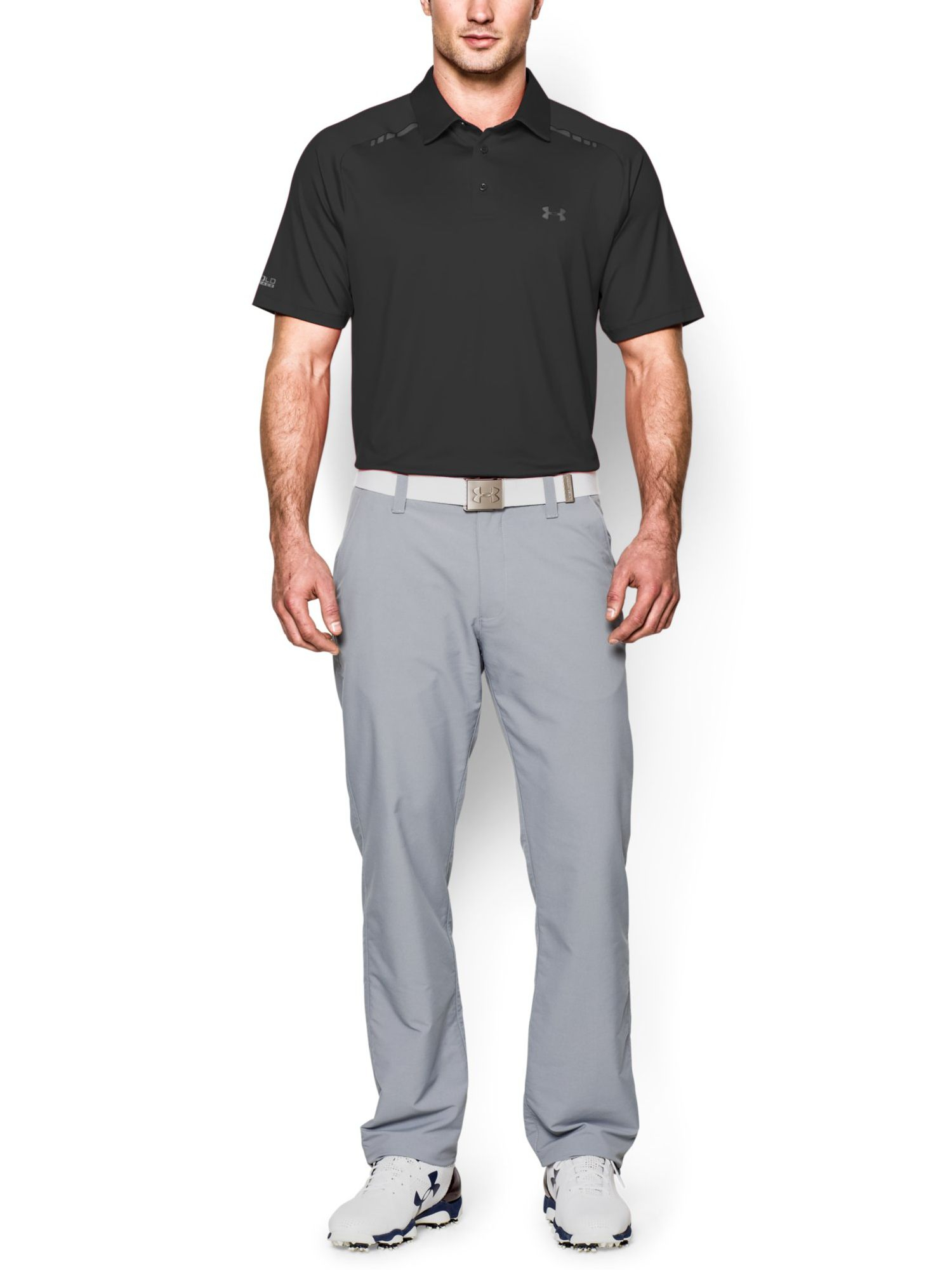 Lyst under armour stripe polo regular fit polo shirt in for Under armour heat gear button down shirt