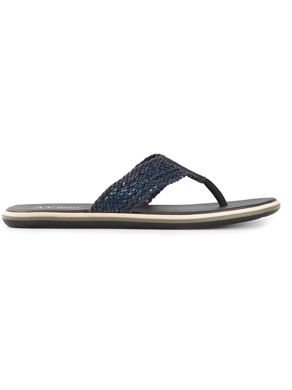 082bd9d0b9da Armani Jeans Thong Strap Sandals in Blue for Men - Lyst