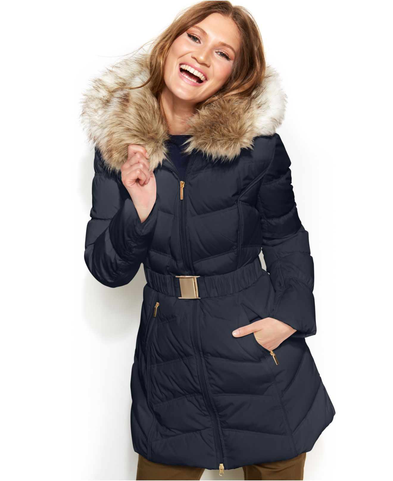 Laundry by shelli segal Faux Fur Hooded Down Puffer Coat in Blue ...