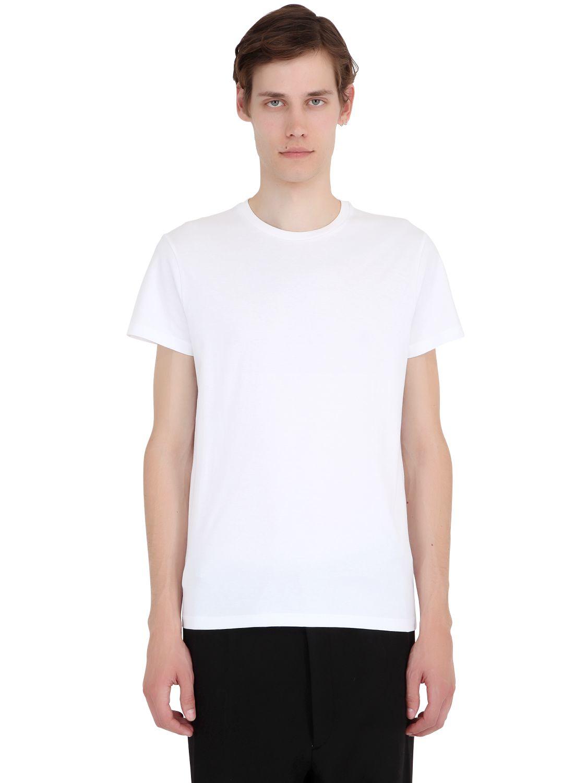 Jil sander essential slim fit cotton t shirt in white for for Jil sander mens shirt