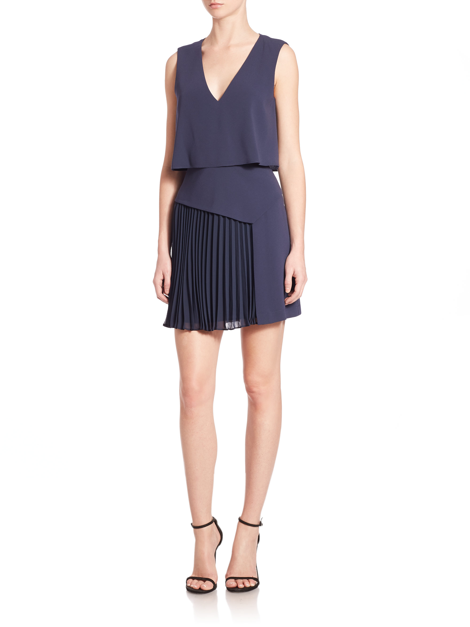 bcbgmaxazria abilena layered pleated skirt dress in blue