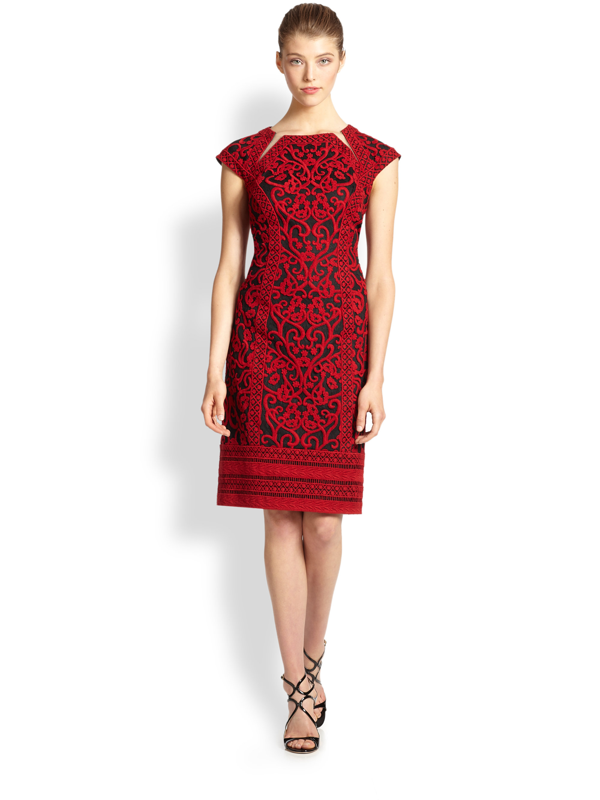 Lyst tadashi shoji embroidered tulle sheath dress in red