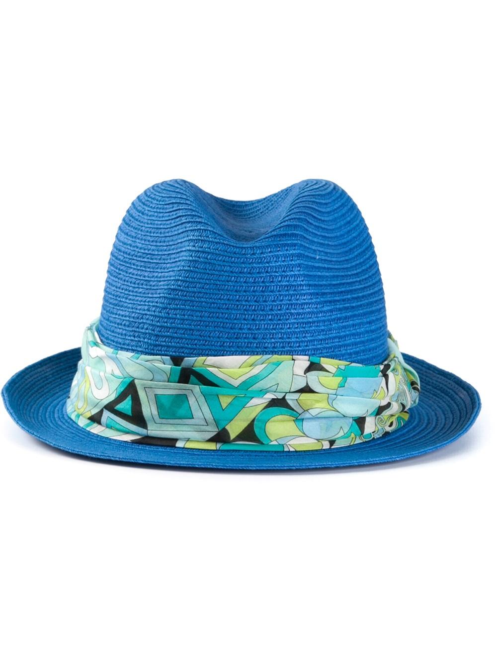 d17312b7533 Lyst - Emilio Pucci Panama Hat in Blue