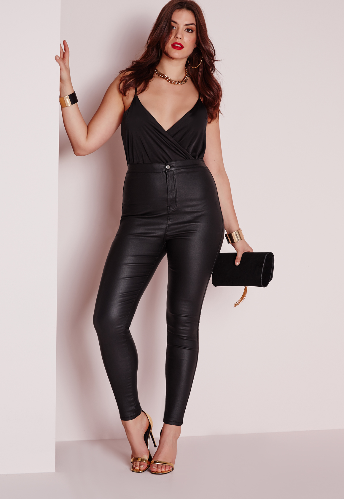Lyst Missguided Plus Size Coated Skinny Jeans Black In Black