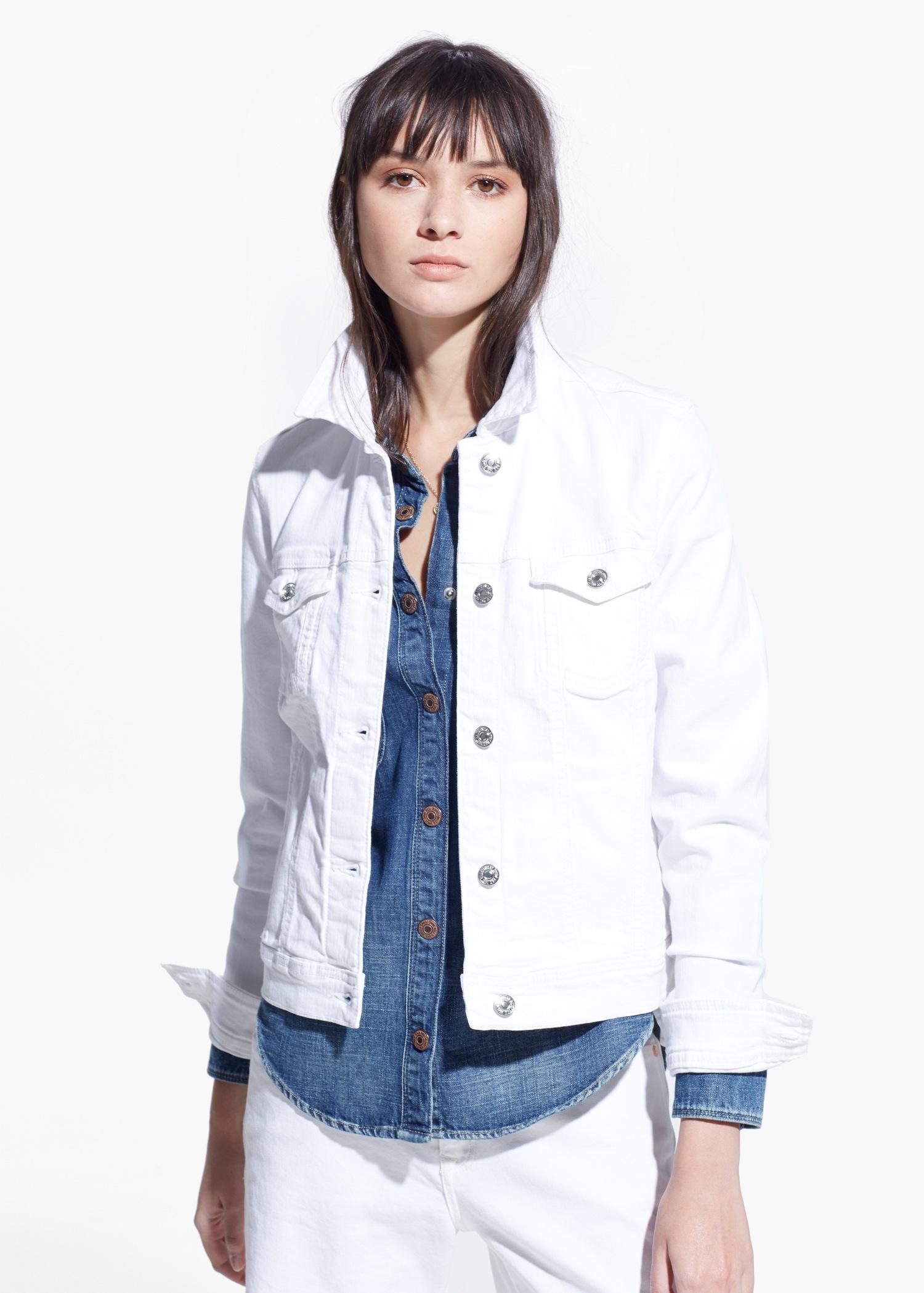 e0c1db25f962f Mango White Denim Jacket in White - Lyst