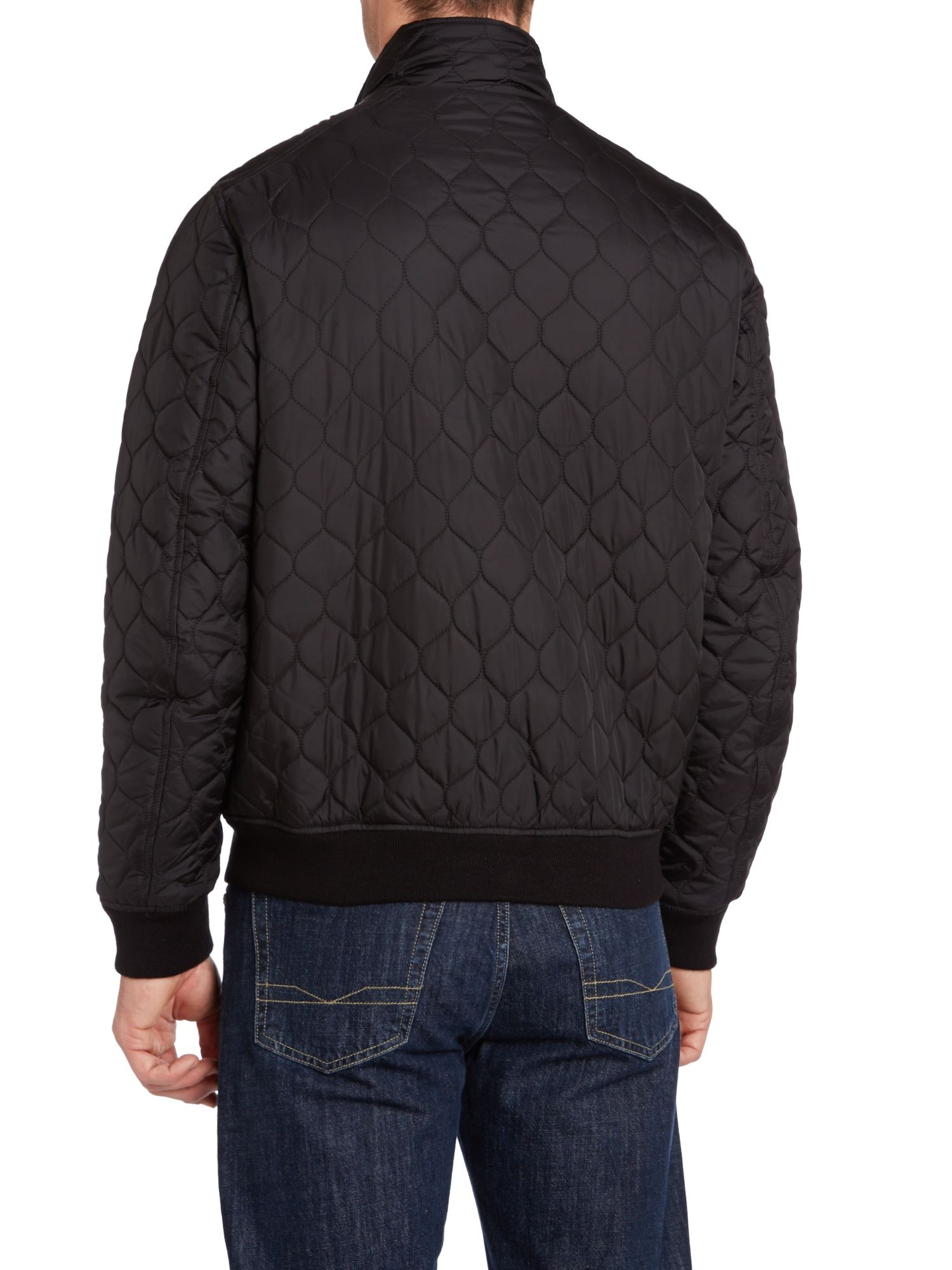 Dockers quilted bomber jacket in black for men lyst for Quilted jackets for men