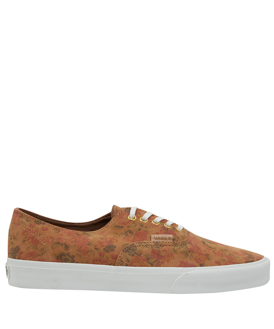 7e069f5a4f597a Lyst - Vans Tan Authentic Floral Decon Ca Suede Skate Shoes in Brown ...