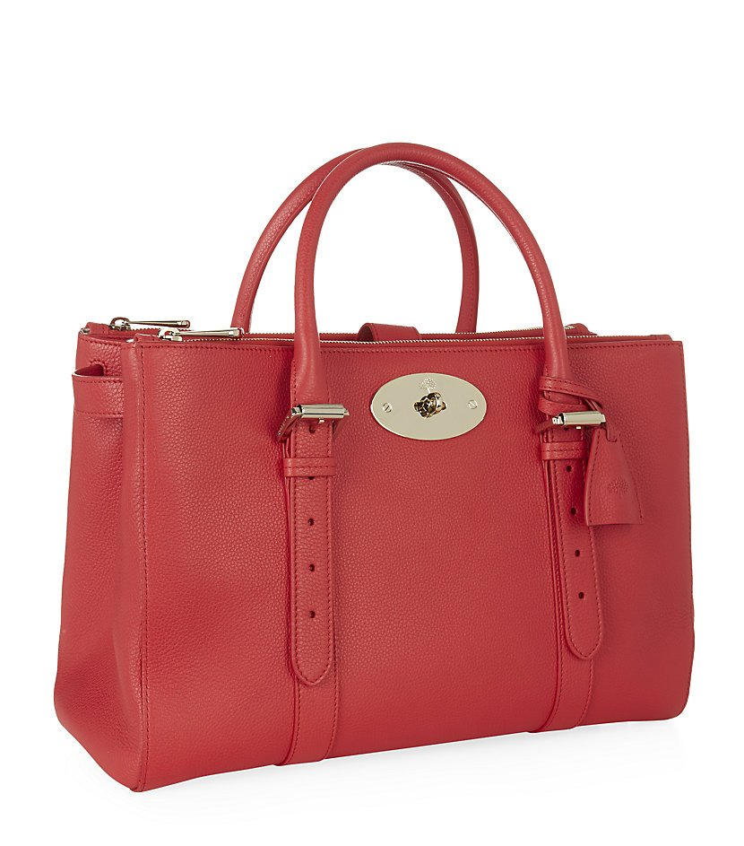 Mulberry Bayswater Classic Grain Double Zip Tote in Pink . 5d50894c472c8