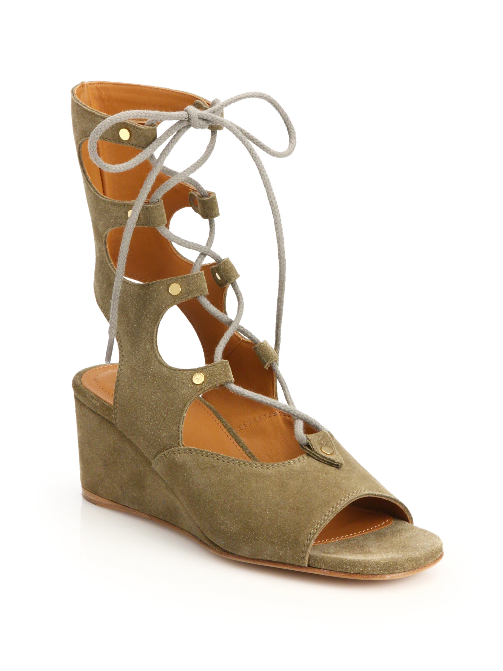 chlo 233 suede wedge gladiator sandals in green lyst